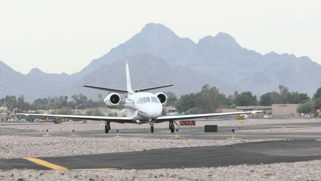 A jet gets ready for takeoff at the Scottsdale Airport
