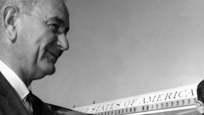 President Lyndon B. Johnson at Palm Springs Municipal Airport c. 1964.