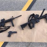 This photo shows the weapons used in the Dec. 2 shooting in San Bernardino. Investigators say the attackers visited shooting ranges prior to the incident.