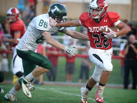 Annville-Cleona's Cameron Hoch looks to shed a potential