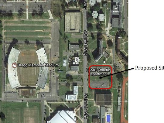 Here is a map showing location of new student center planned at Florida A&M University.