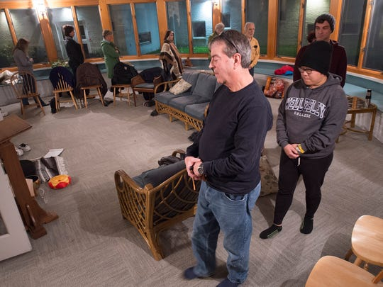 Jim Ebaugh leads a walking meditation, which helps