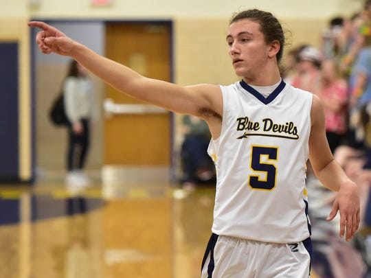 Jason Freeman of Greencastle signals a play. Greencastle defeated Northern York 81-59 Friday, January 19, 2018.