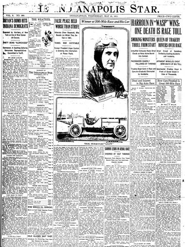 1911 Indianapolis Star front page following the Indianapolis