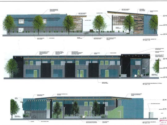 Architectural renderings of the proposed remodeling project to turn the Americana Lodge into The Lofts.