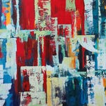 """A mixed media on panel by artist Sarah Ruh titled """"New Geography"""" Thursday, July 23, 2015, at The Bindery in Lafayette."""