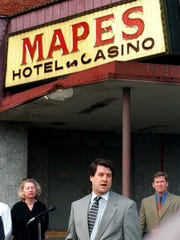 Foster Mullen of the QM Coro of Sparks speaks during a news conference about a plan to save the Mapes. Behind him are Reno City Councilwoman Candice Pearce and Chuck Davis.