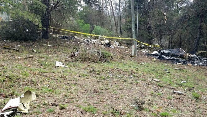 A Virginia State Police photograph shows debris from a fatal plane crash April 15, 2018, near Crozet.