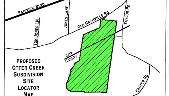 Locator map for the proposed Otter Creek Subdivision in Fairview.