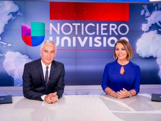 Jorge Ramos and María Elena Salinas co-anchor Univision's