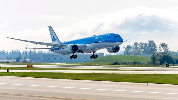KLM's first 787-9 is seen in flight at Boeing's production