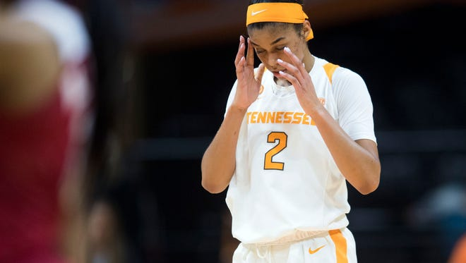 Tennessee's Evina Westbrook in the final minutes of the game against Alabama's on Thursday, February 15, 2018.