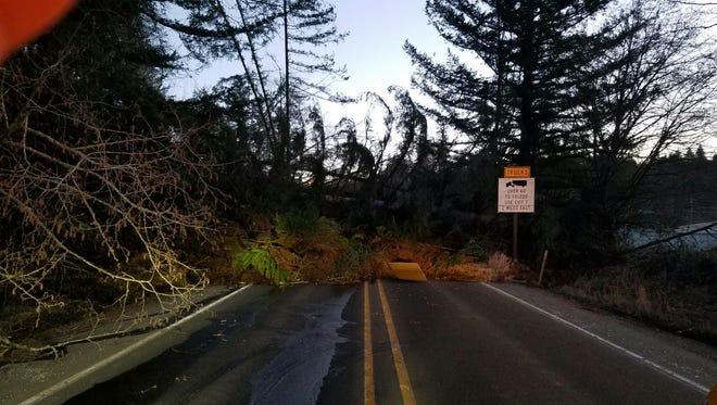 A landslide has blocked Highway 20 near Toledo.