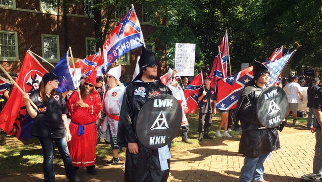 In this photograph taken July 8, 2017, the Ku Klux Klan rallied in Charlottesville, Virginia.