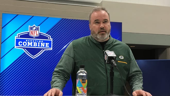 Green Bay Packers coach Mike McCarthy speaks with the media at the NFL scouting combine on Feb. 28, 2018, in Indianapolis.