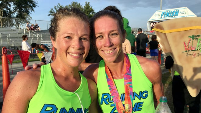 Jennifer Absher (left) and Kaitlin Donner placed second and first in the women's division