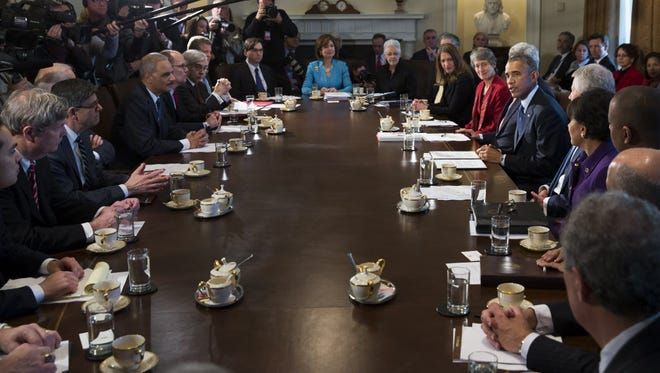 President Obama at a Cabinet meeting last month.