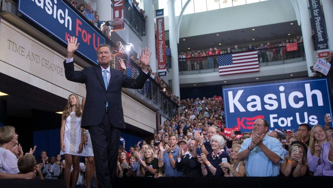 Ohio Gov. John Kasich announces his run for the 2016 Republican presidential nomination on July 21, 2015, in Columbus.