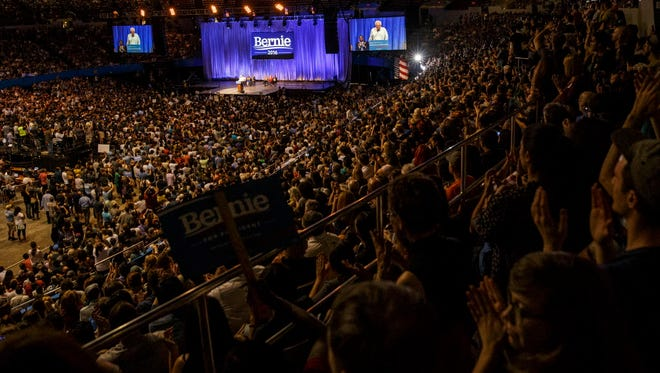 Supporters of Sen. Bernie Sanders, I-Vt., pack his presidential campaign event in Los Angeles on Monday.