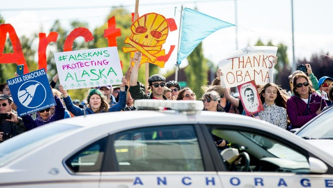 Demonstrators in Anchorage, Alaska, on  Aug. 31, 2015.