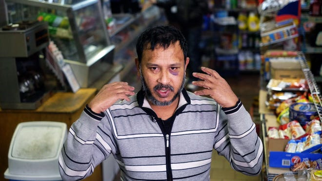 """Sarker Haque, who owns a food mart in New York, reported he was beaten Saturday by a customer who promised to """"kill Muslims."""""""