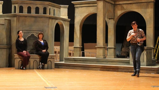 "Abigail Bailey Maupin, Olivia; Katherine Martin, Viola; Georgette Kleier, Maria (sitting), rehearse Shakespeare's ""Twelfth Night."""