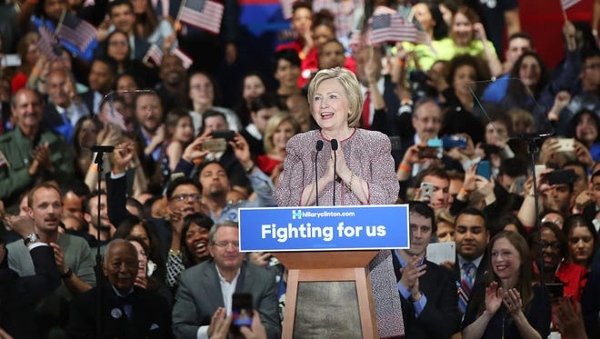 Hillary Clinton celebrates her win Tuesday in New York.