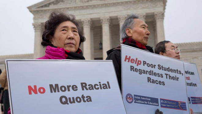 Protesters against racial quotas outside the Supreme Court in Washington, D.C.