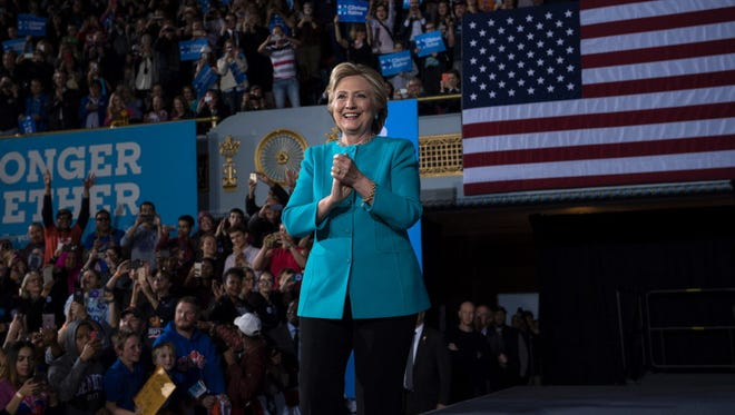 Hillary Clinton campaigns Nov. 6, 2016, in Cleveland.