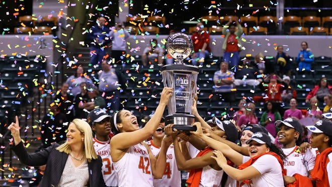 The Maryland Terrapins celebrate after defeating the Purdue Boilermakers during the women's Big Ten Conference tournament at Bankers Life Fieldhouse. Maryland won 74-64.