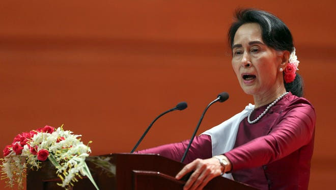 Myanmar's State Counsellor Aung San Suu Kyi delivers a televised speech to the nation at the Myanmar International Convention Center in Naypyitaw, Myanmar, on Sept. 19.