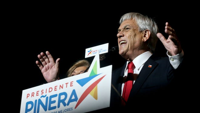 Former President Sebastian Pinera addresses supporters after winning the presidential elections runoff in Chile, on Dec. 17.