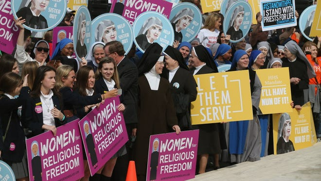 Supporters of Little Sisters of the Poor rally at the Supreme Court in 2016.