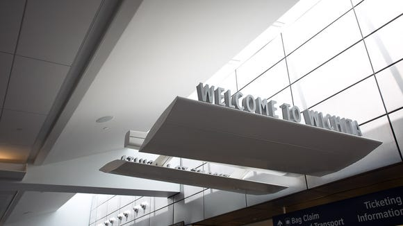 A sign greets passengers at the Wichita Dwight D. Eisenhower
