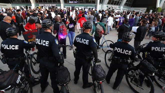 Sacramento police monitor a Black Live Matter protest  on March 27, 2018 in Sacramento.