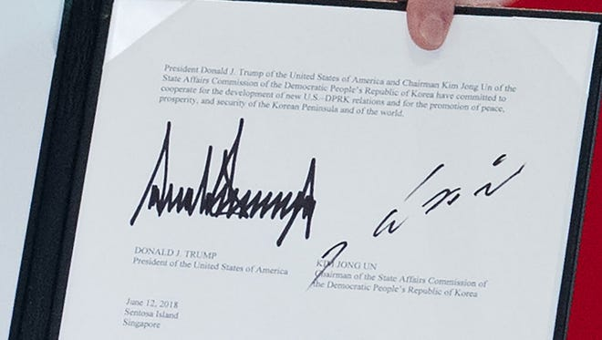 The signatures of President Donald Trump and North Korean leader Kim Jong Un.