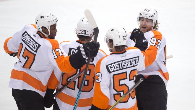 The Flyers' top power-play unit is looking to get hot again as they were a couple weeks ago.