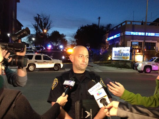 Reno police address the media Wednesday evening after an officer-involved shooting near UNR.