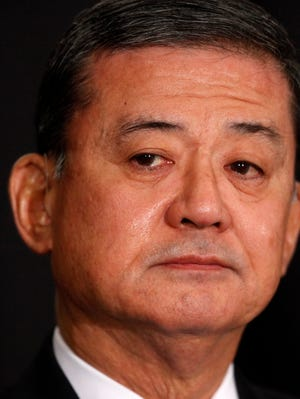 Veterans Affairs Secretary Eric Shinseki is seated before speaking at a meeting of the National Coalition for Homeless Veterans, on Friday, May 30, 2014, in Washington.