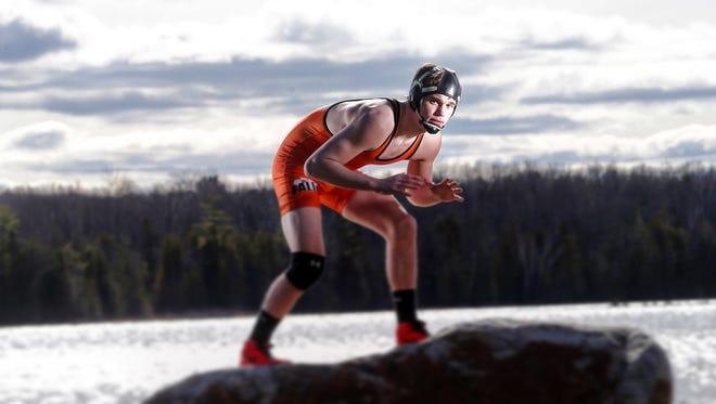 Oconto Falls' Nate Trepanier is the Green Bay Press-Gazette's wrestler of the year. Trepanier is shown on Thursday, April 7, 2016.