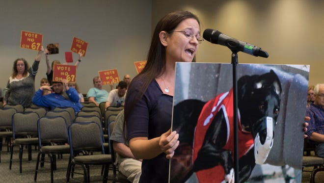 Theresa Dennis, of Fort Walton, voices support for a proposal to ban wagering on greyhound racing during a Florida Constitution Revision Commission's public hearing Feb. 27 at the University of West Florida in Pensacola.