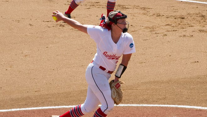 Jennifer Leonhardt pitches during Southern Indiana's 1-0 win over top-ranked North Georgia, Thursday, in the Division II Softball World Series.