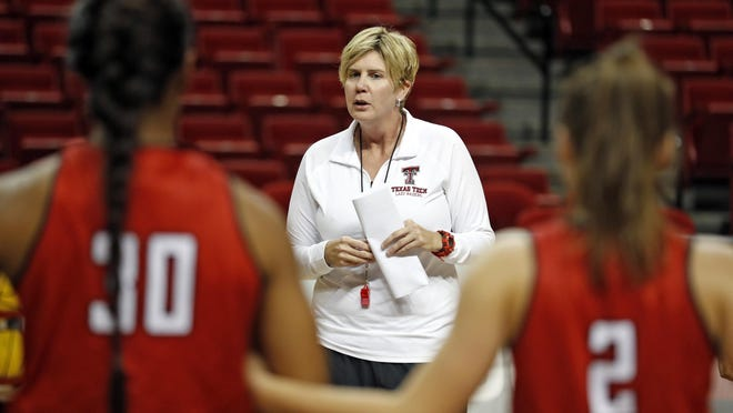 Texas Tech coach Marlene Stollings talks to her players during practice Sept. 26, 2018 at United Supermarkets Arena. Stolling was terminated Aug. 6, one day after USA TODAY published a months-long investigation detailing player's allegations of abuse by Stollings, strength and conditioning coach Ralph Petrella and assistant coach Nikita Lowry Dawkins.