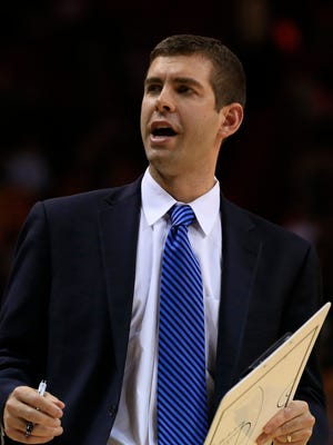 Dec 21, 2014; Miami, FL, USA;  Boston Celtics head coach Brad Stevens in the second half of a game against the Miami Heat at American Airlines Arena. The Heat won 100-84. Mandatory Credit: Robert Mayer-USA TODAY Sports