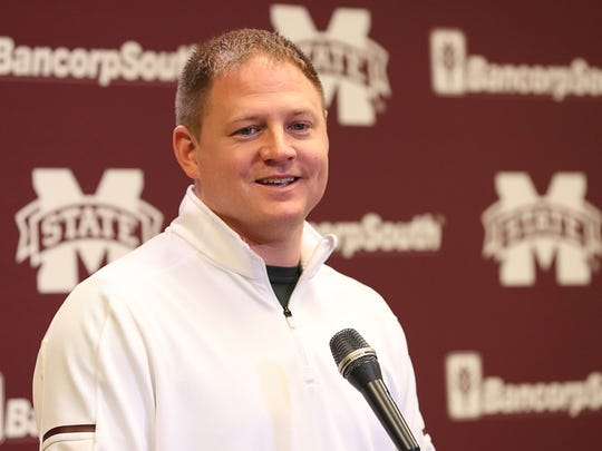 New offensive coordinator/receivers coach Luke Getsy was introduced at Mississippi State.