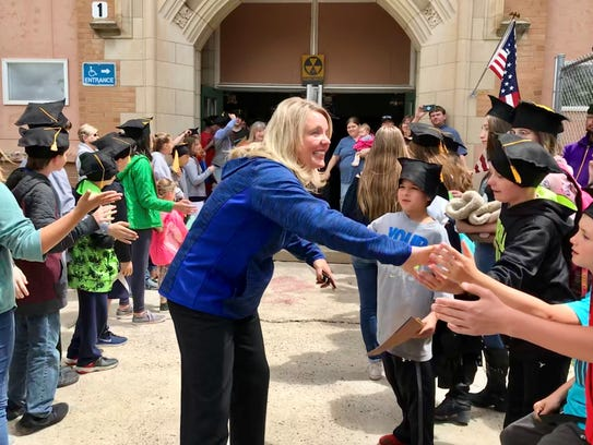 GFPS Superintendent Tammy Lacey gives sixth-graders