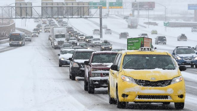 Traffic gets backed up heading south on U.S. 395 on Thursday.