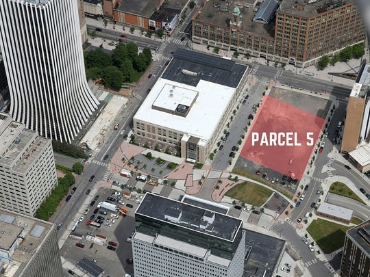 The vacant Midtown Parcel 5 on East Main Street is seen in this aerial file photo.
