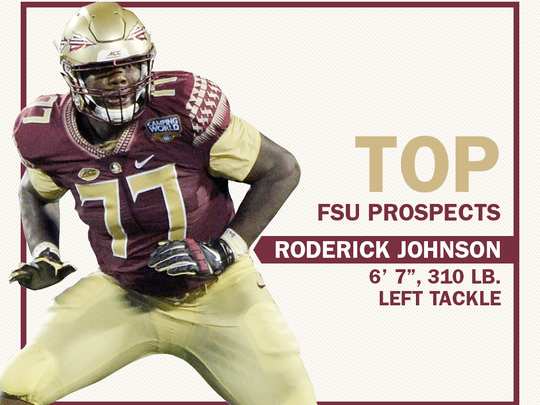 Florida State offensive tackle Roderick Johnson draft card.