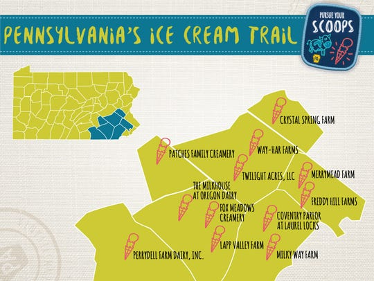 A map of the first-ever Pennsylvania Ice Cream Trail.